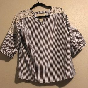 NWOT Striped shirt with lace sleeves